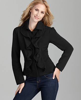 Style&co. Petite Jacket, Knit Ruffle Double Placket - Petite - Women's  - Macy's :  jacket ruffle black womans