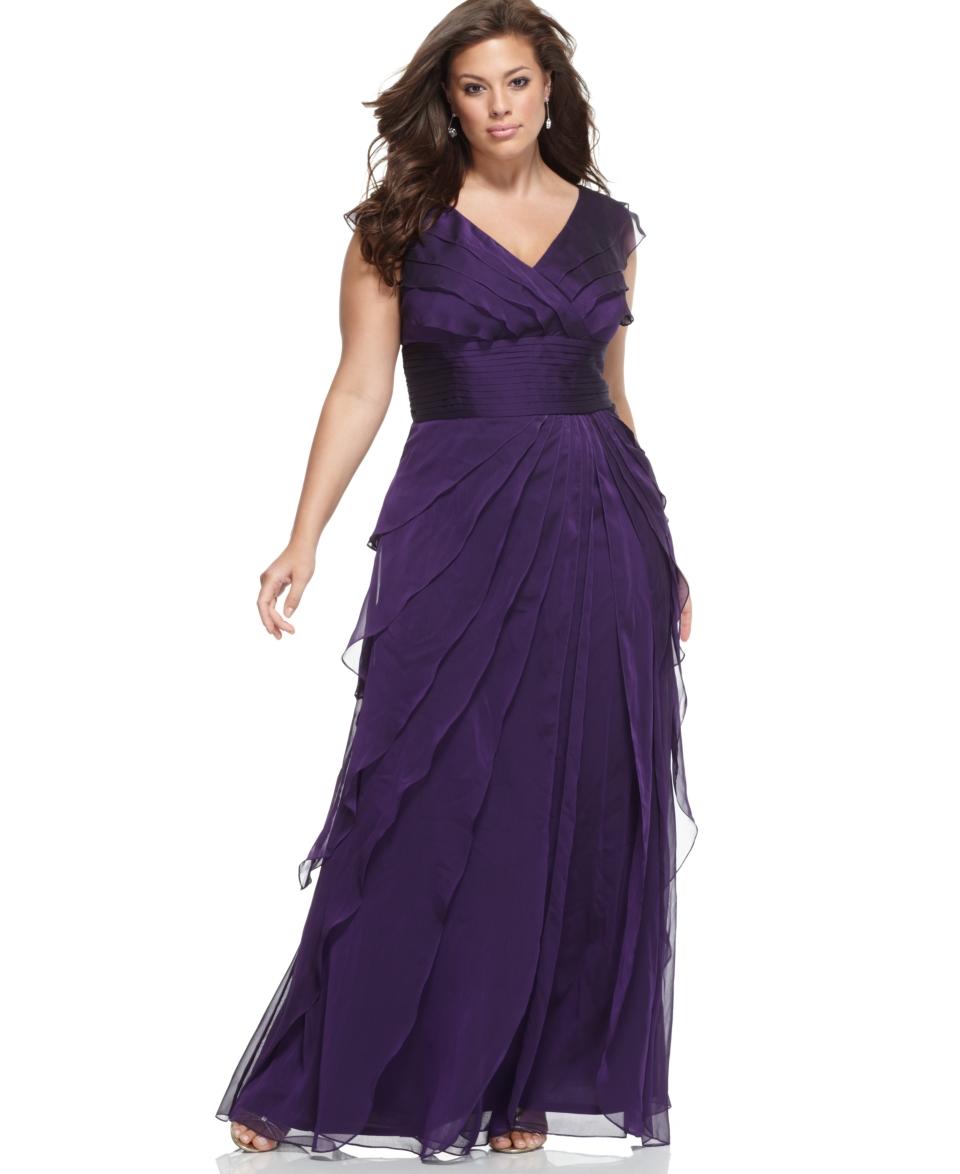 Adrianna Papell Plus Size Dress, Sleeveless Tiered Empire Waist