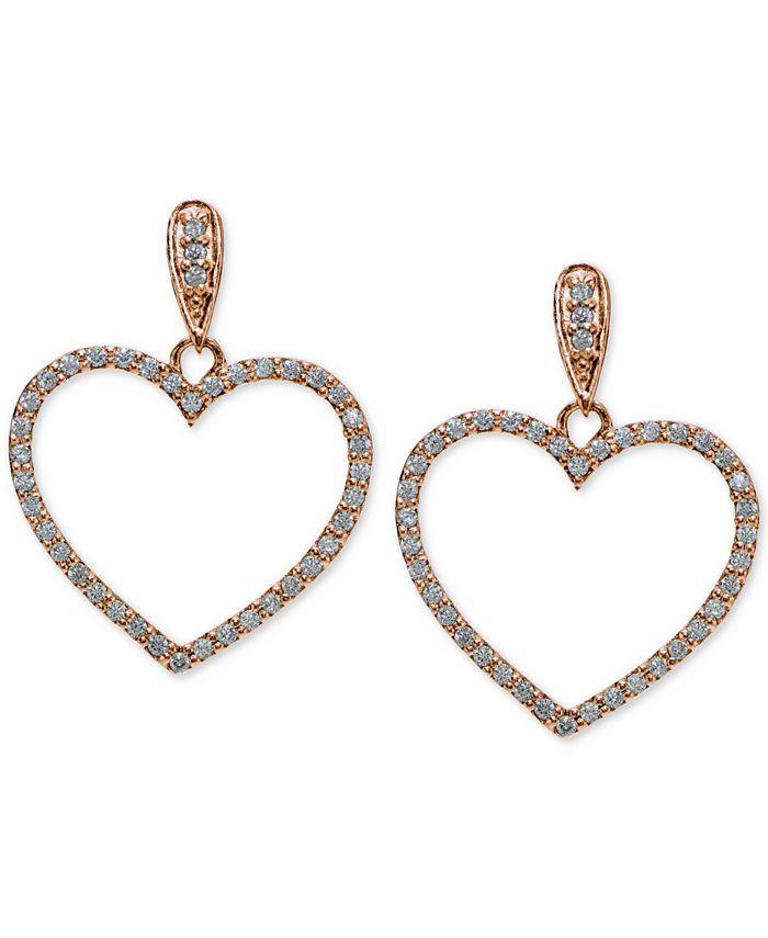 Giani Bernini - Cubic Zirconia Pavé Heart Drop Earrings Sterling Silver