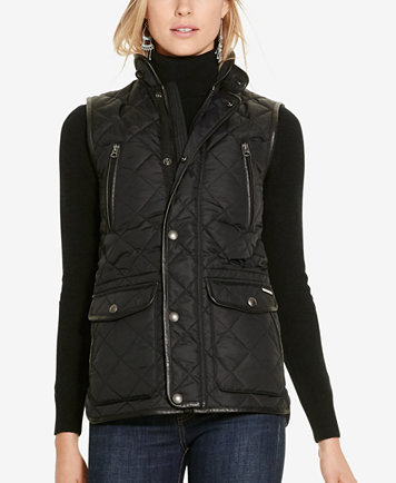 Polo Ralph Lauren Leather-Trim Quilted Vest - Jackets - Women - Macy's : leather quilted vest - Adamdwight.com