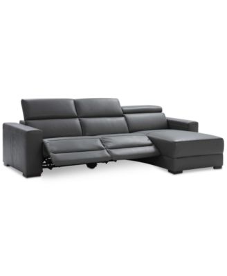 Nevio 3-pc Leather Sectional Sofa with Chaise with 2 Power Recliners Only at  sc 1 st  Macyu0027s & Nevio 6-pc Leather Sectional Sofa with Chaise u0026 2 Power Recliners ... islam-shia.org
