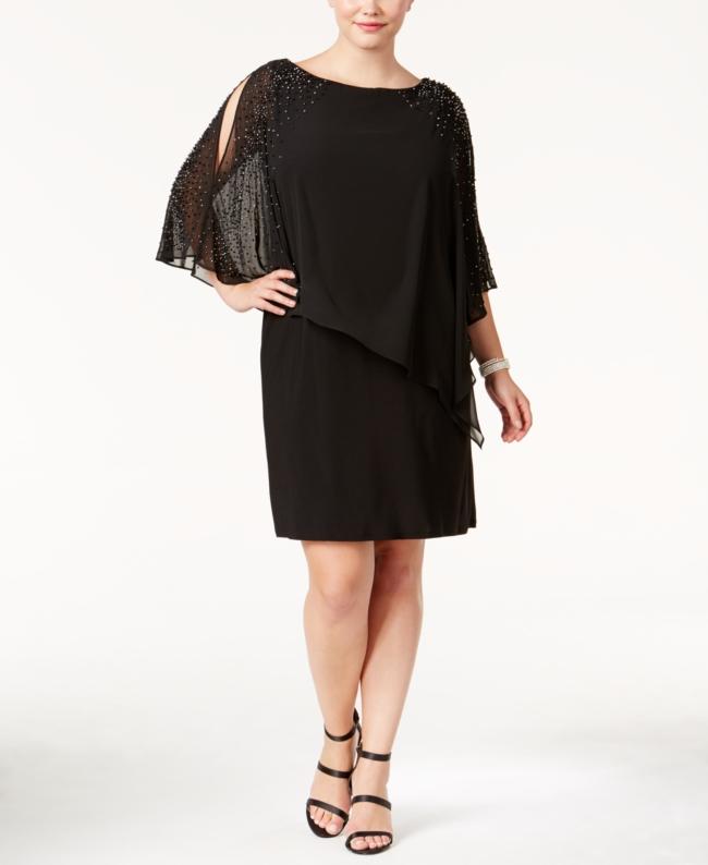 Xscape Plus Beaded Cape Dress | Clothing