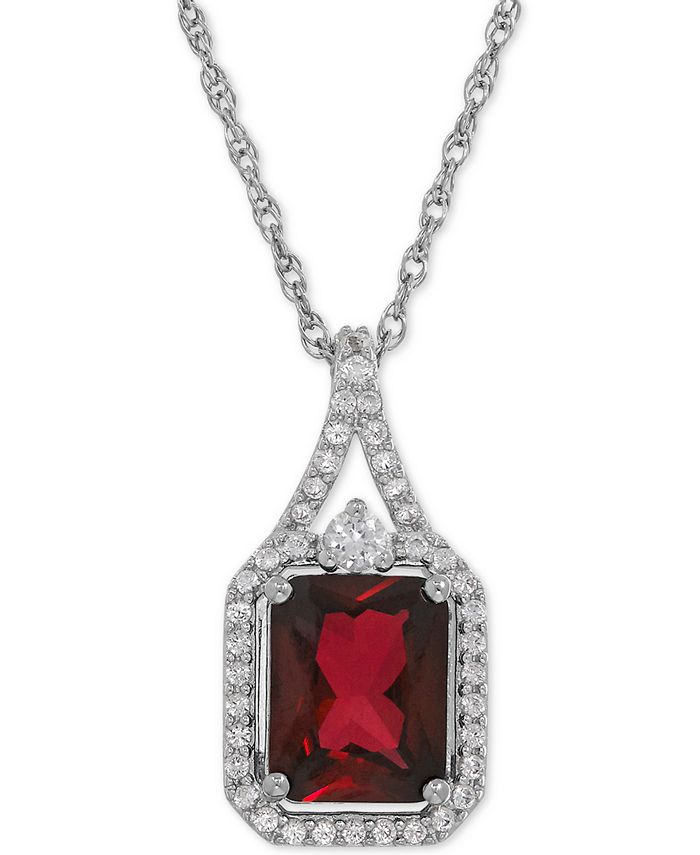 Macy's - Lab-Created Ruby (3-1/10 ct. t.w.) and White Sapphire (1/4 ct. t.w.) Pendant Necklace in Sterling Silver