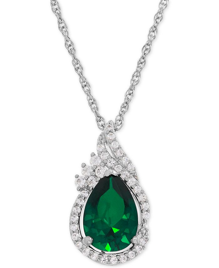 Macy's - Lab-Created Emerald (1-3/4 ct. t.w.) and White Sapphire (1/4 ct. t.w.) Teardrop Pendant Necklace in Sterling Silver