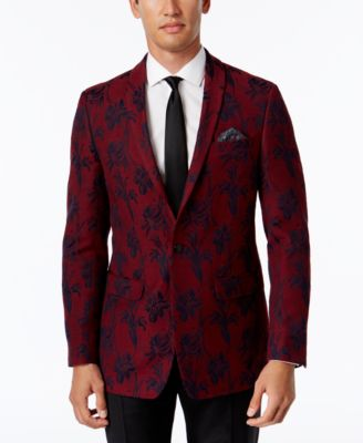 Tallia Men&39s Big &amp Tall Slim-Fit Red Velvet Sport Coat - Blazers