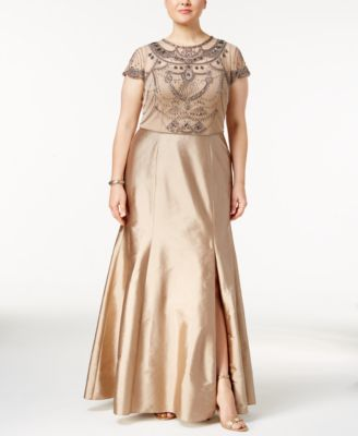 Adrianna Papell Plus Size Cap-Sleeve Beaded Sequined Gown ...