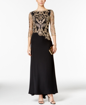 1940s Style Prom, Party, Cocktail Dresses Tadashi Shoji Embroidered Illusion Gown $498.00 AT vintagedancer.com