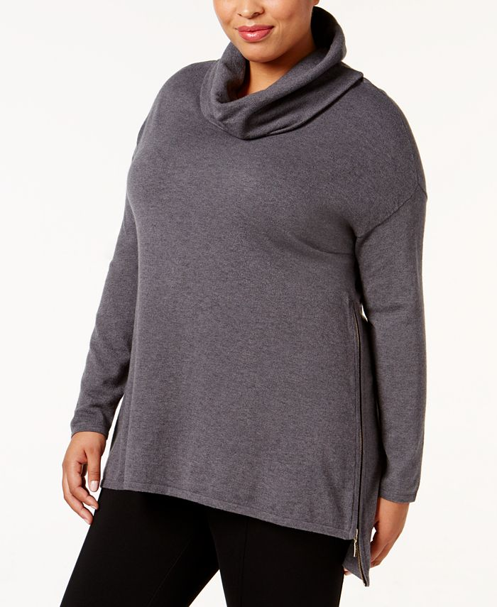 Belldini - Plus Size High-Low Cowl-Neck Sweater