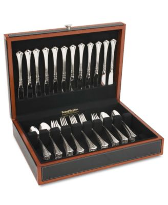 Reed & Barton Flatware Chest, Adams Black Leather Cherry