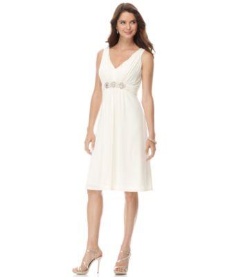 Evan Picone Dress, Sleeveless with Bead Embellishment
