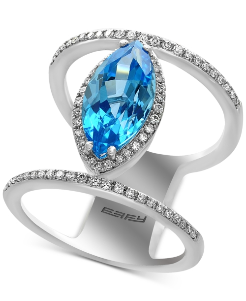 Effy Final Call Blue Topaz (3-1/3 ct. t.w.) and Diamond (1/3 ct. t.w.) Double Band Ring in 14k White Gold