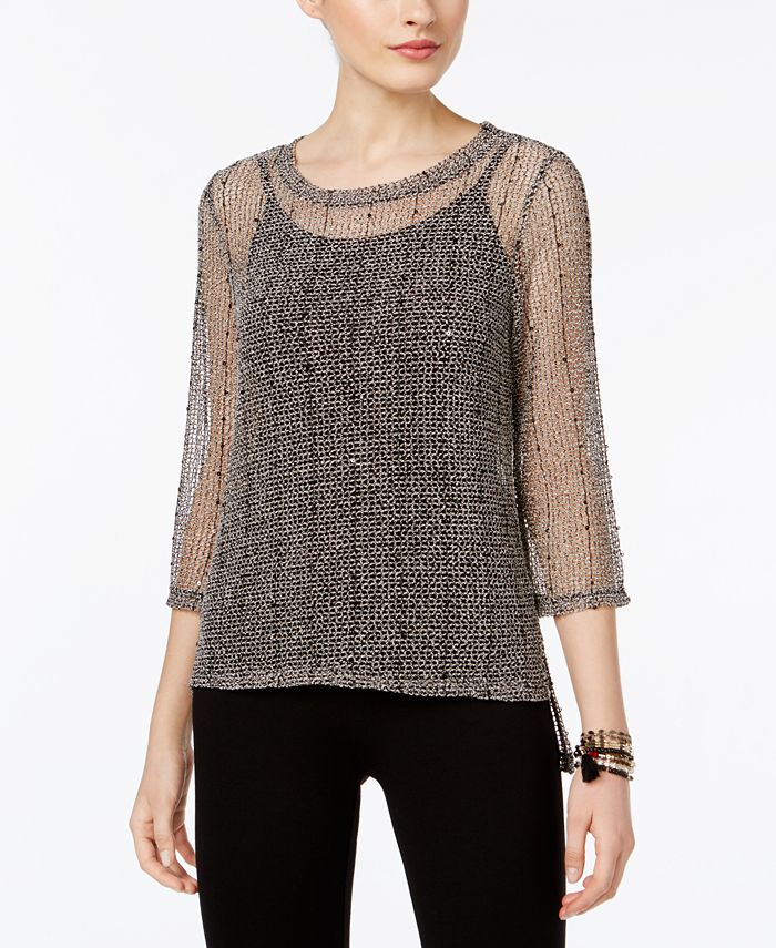 INC International Concepts - Sequined Open-Knit Illusion Top