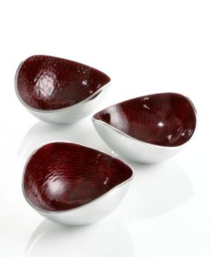 Simply Designz Serveware, Set of 3 Red Nut Bowls