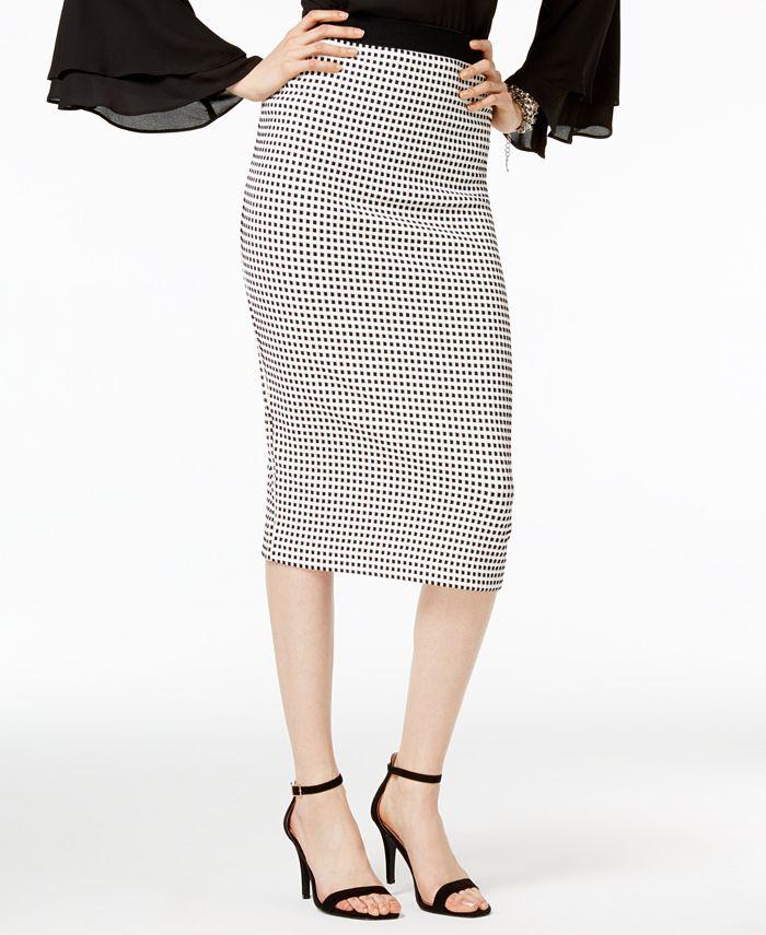 Alfani - Gingham Midi Pencil Skirt