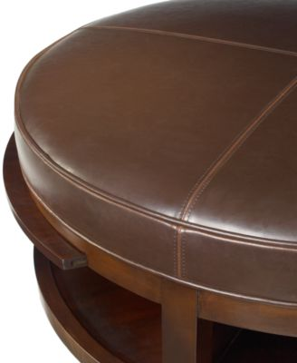 park west round leather coffee table - furniture - macy's