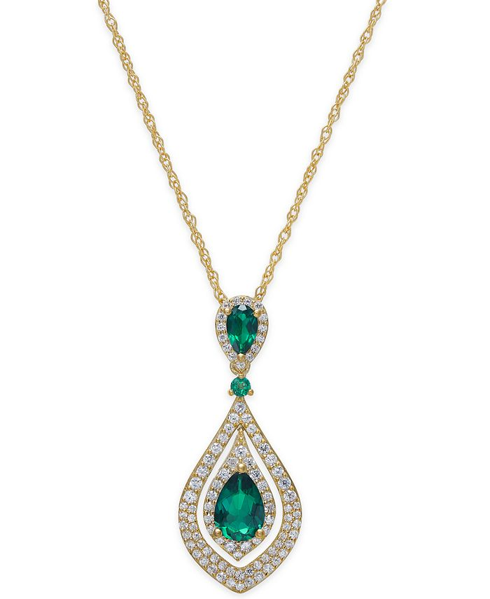 Macy's - Certified Ruby (1-1/4 ct. t.w.) and Diamond (1/2 ct. t.w.) Pendant Necklace in 14k Gold