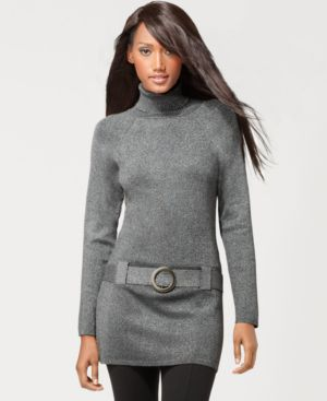 INC International Concepts Belted Turtleneck Lurex Tunic Sweater