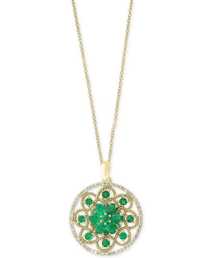 EFFY Collection - Emerald (1-7/8 ct. t.w.) and Diamond (1/4 ct. t.w.) Floral Pendant Necklace in 14k Gold