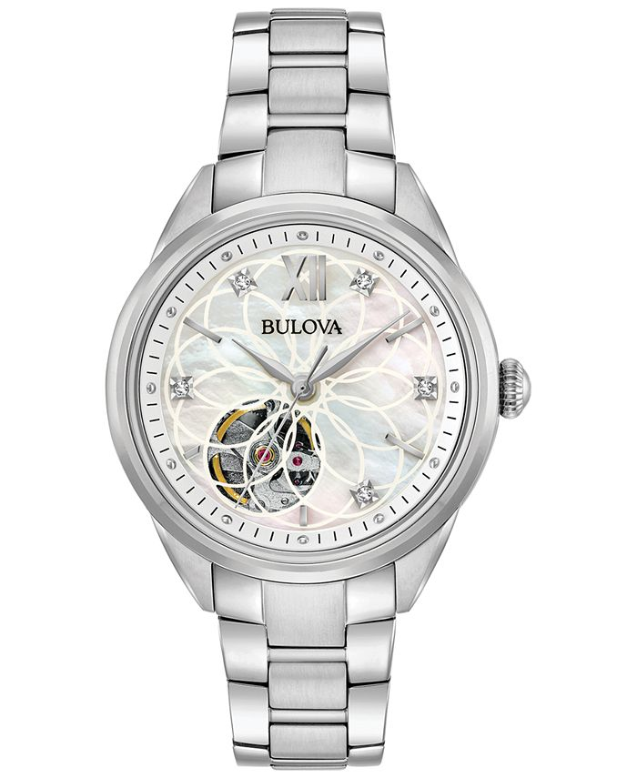 Bulova - Women's Automatic Diamond Accent Stainless Steel Bracelet Watch 34mm 96P181