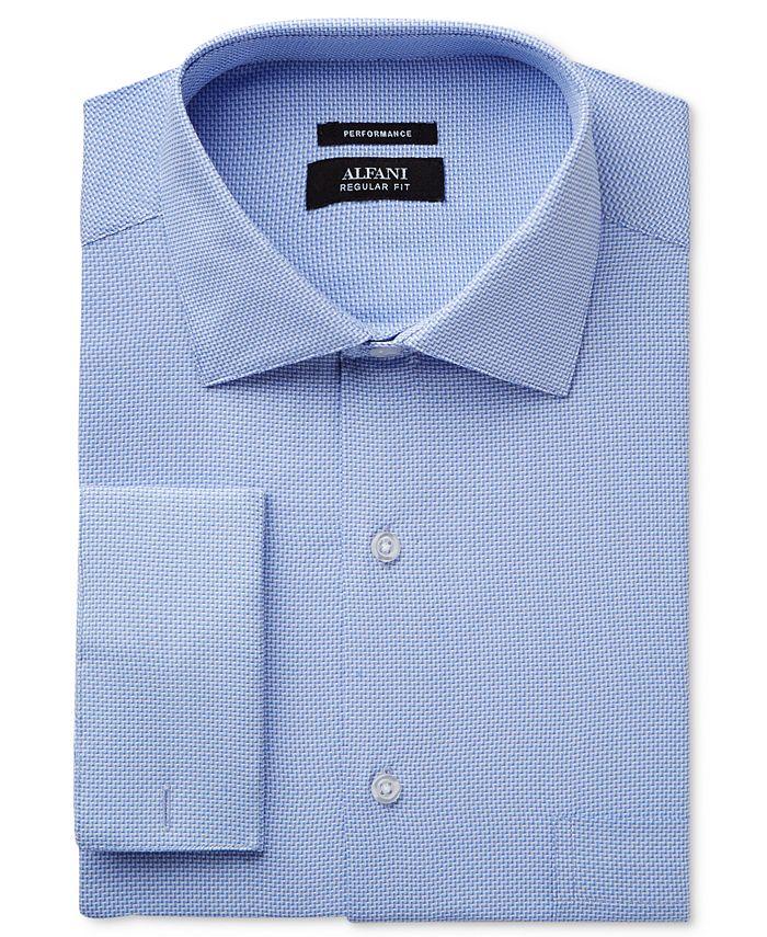 Alfani - Men's Big & Tall Classic/Regular Fit Performance Blue Step Twill Dress Shirt, Only at Macy's