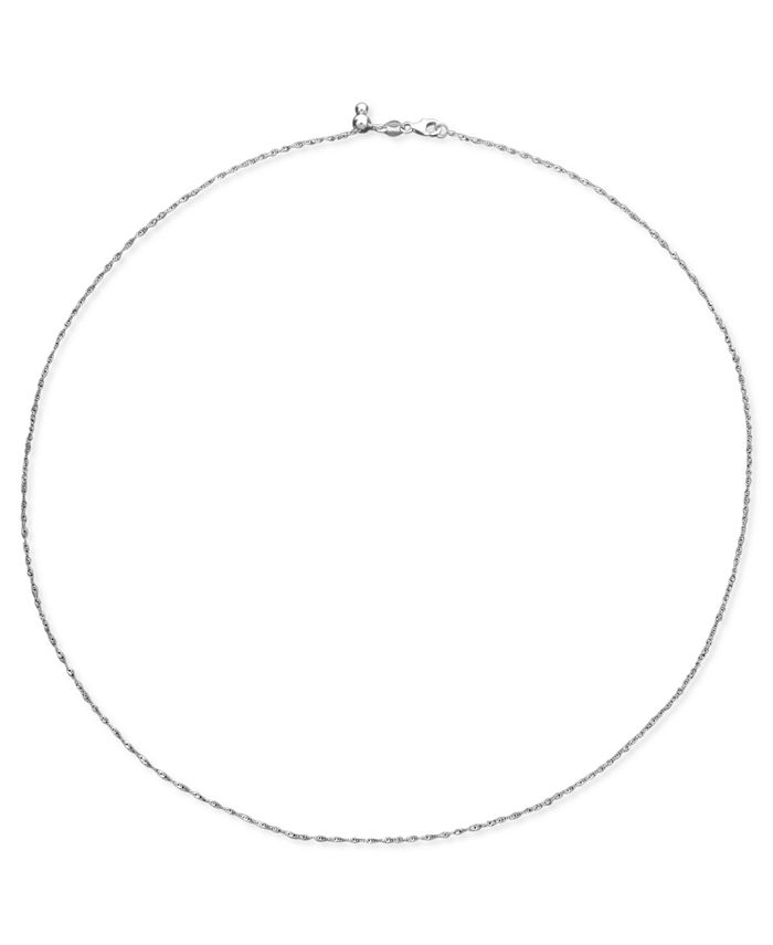 Macy's - 14k White Gold Necklace, Adjustable Singapore Chain