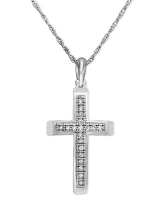 14k white gold pendant diamond accent small cross necklaces 14k white gold pendant diamond accent small cross aloadofball Images