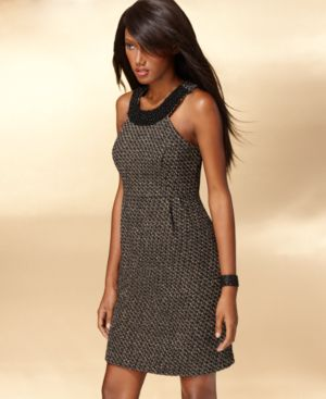 INC International Concepts Dress, Sleeveless Beaded Collar Metallic Tweed Sheath