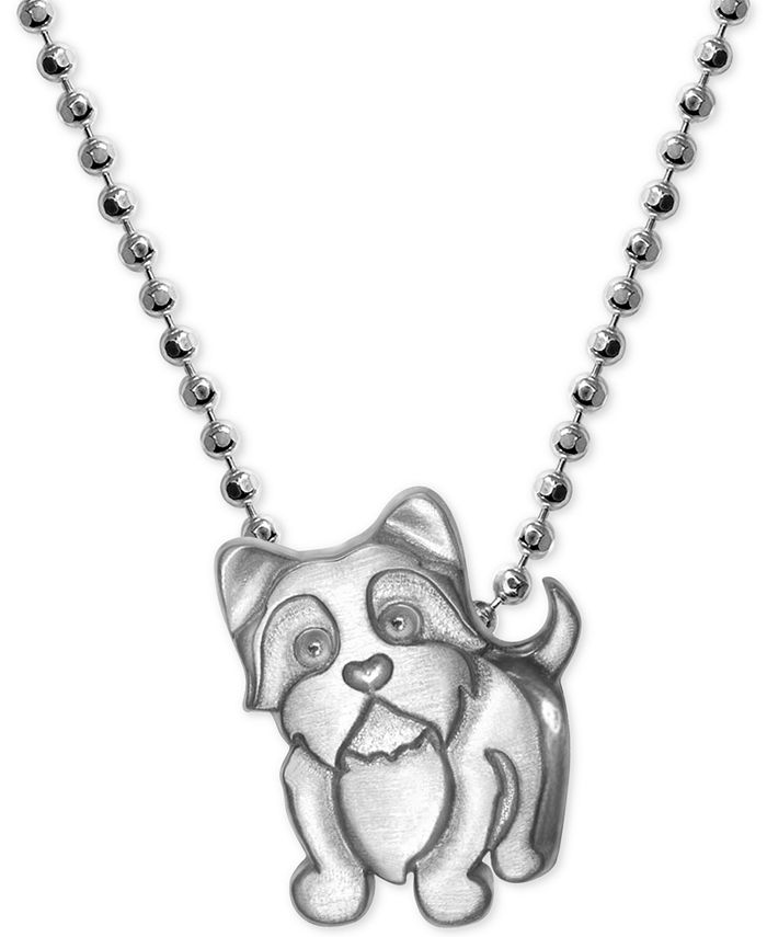Alex Woo - Yorkie Pendant Necklace in Sterling Silver