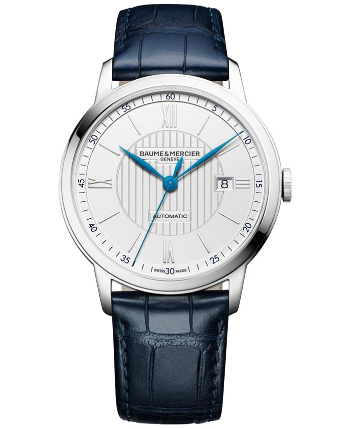 Baume & Mercier - Men's Swiss Automatic Classima Navy Leather Strap Watch 42mm M0A10333