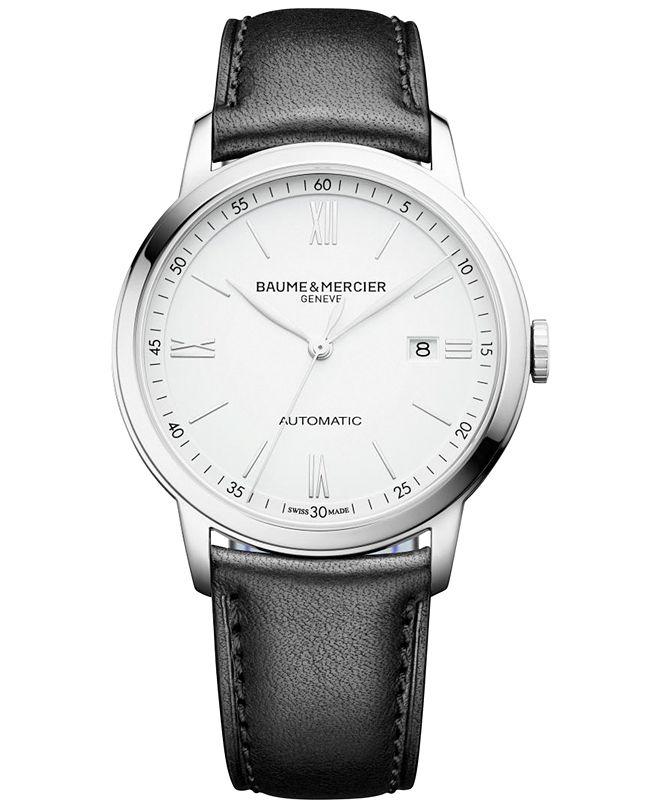 Baume & Mercier Men's Swiss Automatic Classima Black Leather Strap Watch 42mm M0A10332