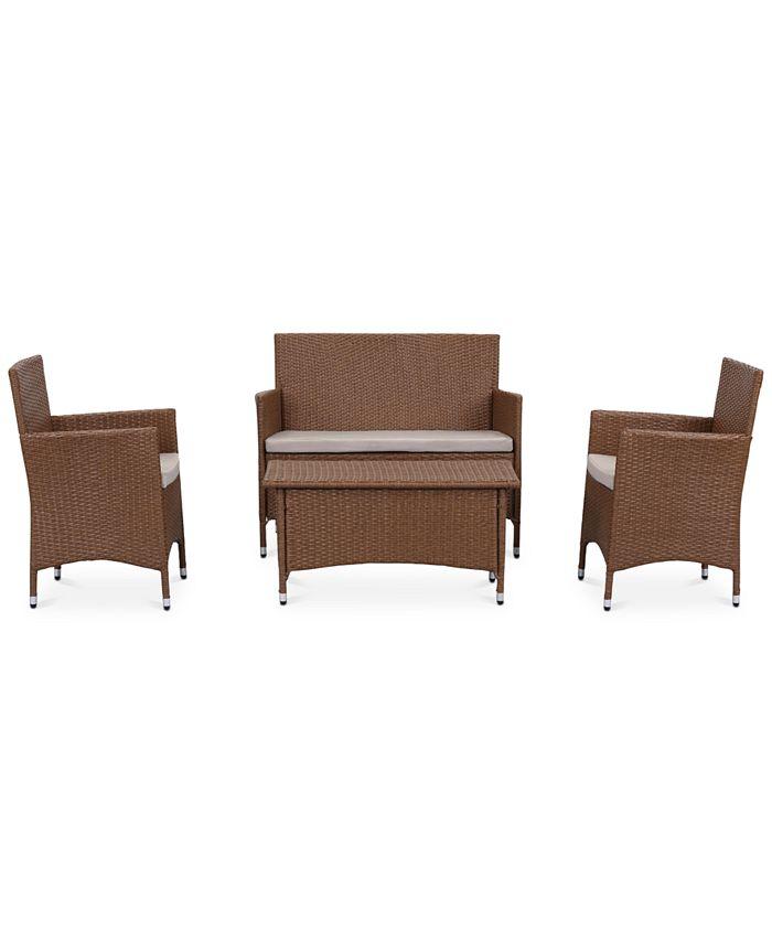 Safavieh - Ganton Outdoor 4-Pc. Seating Set (1 Loveseat, 2 Chairs & 1 Coffee Table), Quick Ship