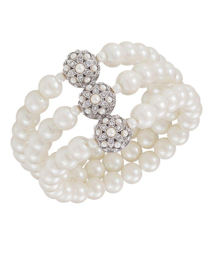 Carolee - Bracelet, Glass Pearl Three Row