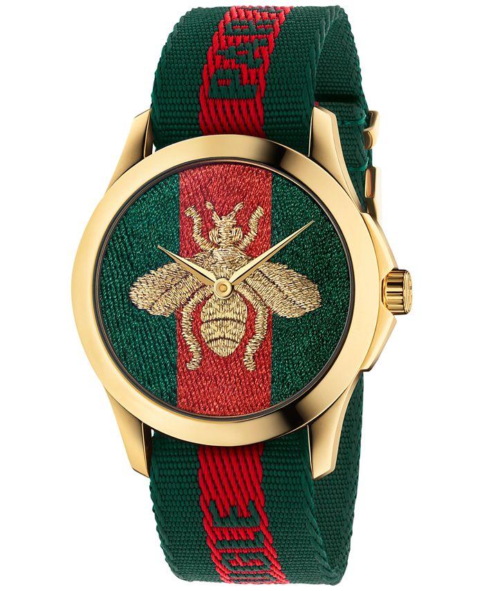 Gucci - Unisex Swiss Le Marché Des Merveilles Green & Red Striped Nylon Strap Watch 38mm YA126487