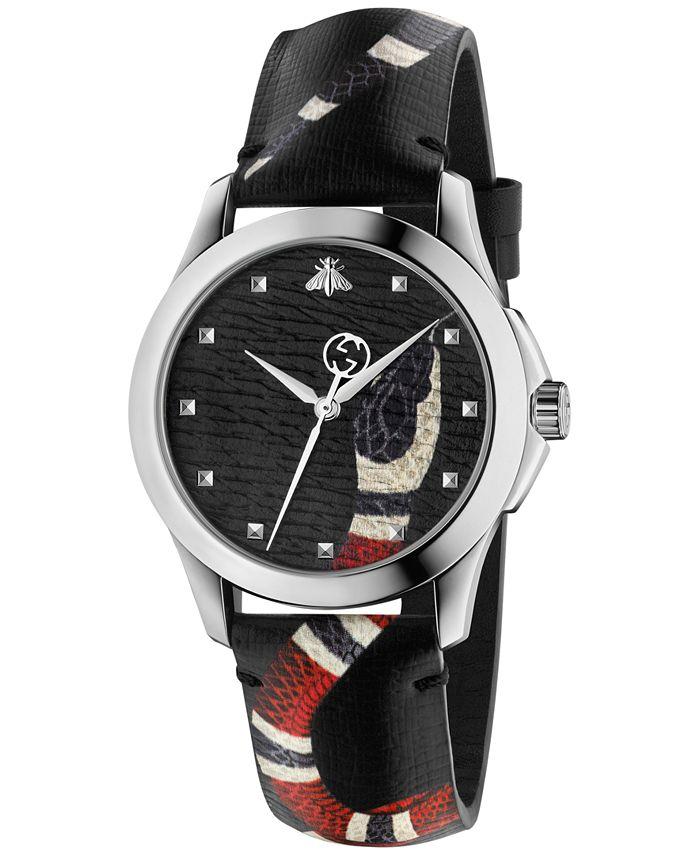 Gucci - Unisex Swiss Le Marché Des Merveilles Gray Leather Strap Watch 38mm YA1264007