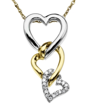 Heart Necklace, 14k Gold and Sterling Silver Diamond Accent Triple Heart Pendant