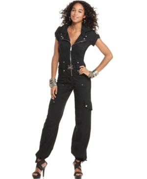 Apple Bottoms Jumpsuit, V-Neck Short Sleeve Cargo Cut Out Utility