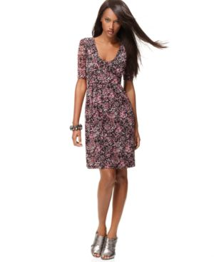 INC International Concepts Dress, Three Quarter Sleeve Floral Print Pullover