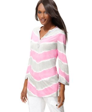 INC International Concepts Tunic, Three Quarter Sleeve Beaded Tie Dye Kurta