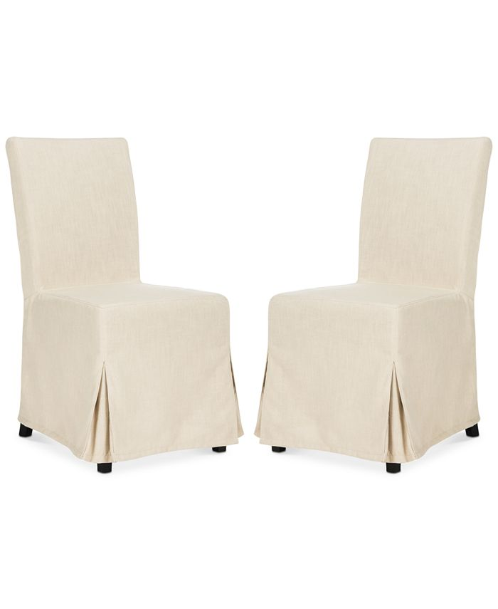 Safavieh - Oreton Set of 2 Slip Cover Dining Chairs, Quick Ship