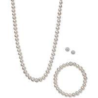 Macys White, Gray or Pink Pearl 7mm & Crystal Collar Jewelry Set Deals