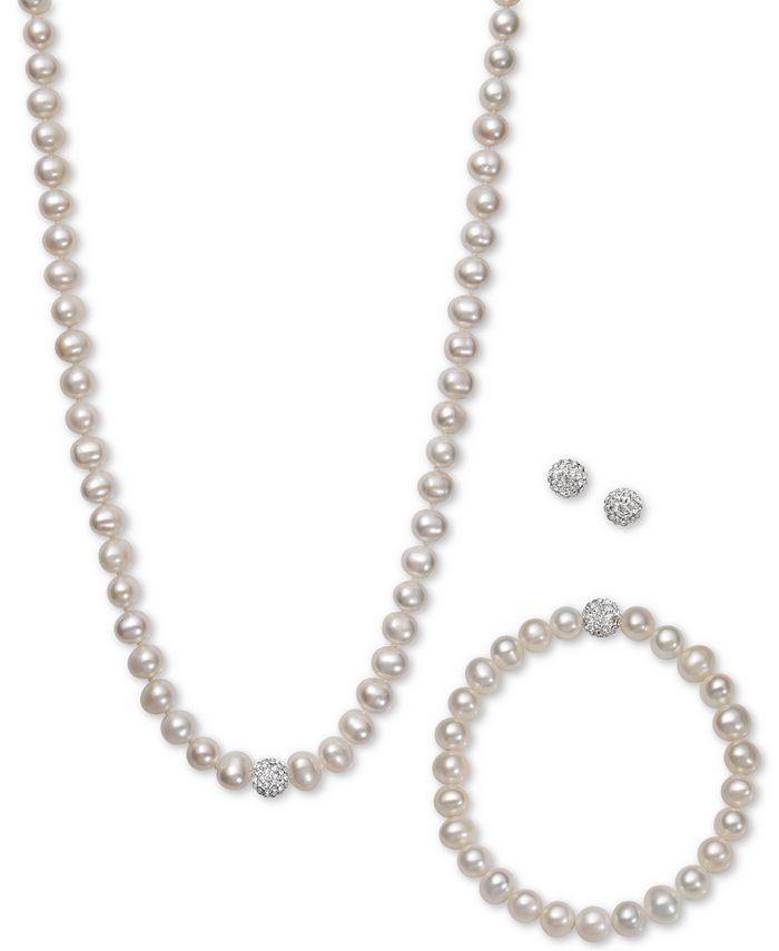 Macy's - White, Gray or Pink Cultured Freshwater Pearl (7mm) and Crystal Collar Jewelry Set
