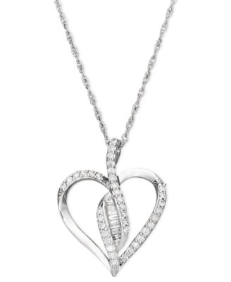 Wrapped in love diamond pendant sterling silver diamond heart wrapped in love diamond pendant sterling silver diamond heart pendant 14 ct tw mozeypictures Images