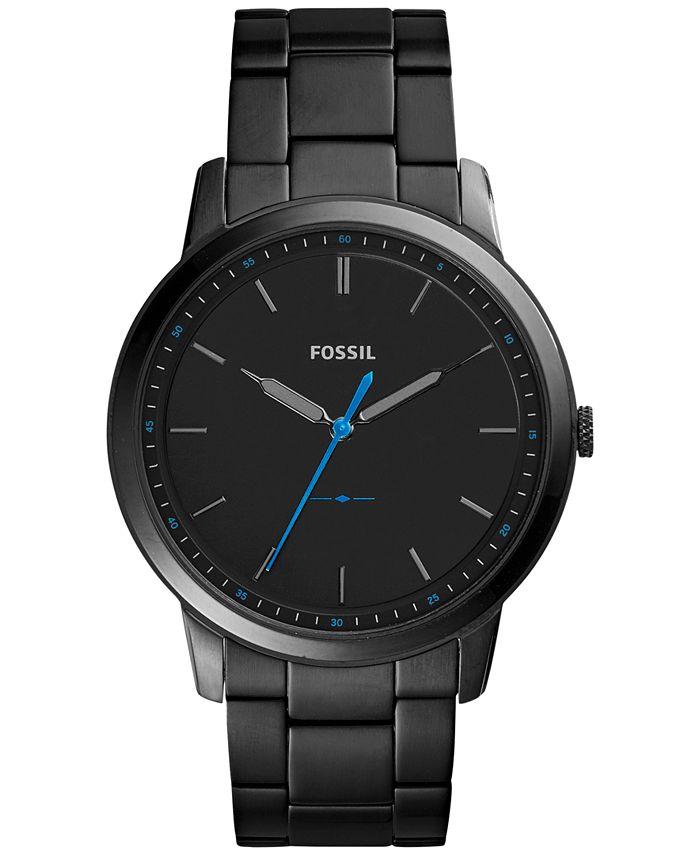 Fossil - Men's The Minimalist Black Stainless Steel Bracelet Watch 44mm FS5308
