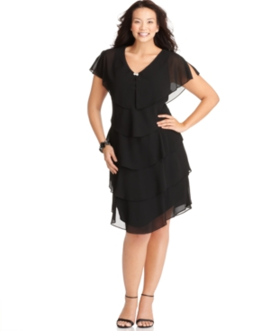 Patra Plus Size Short-Sleeve Tiered Dress