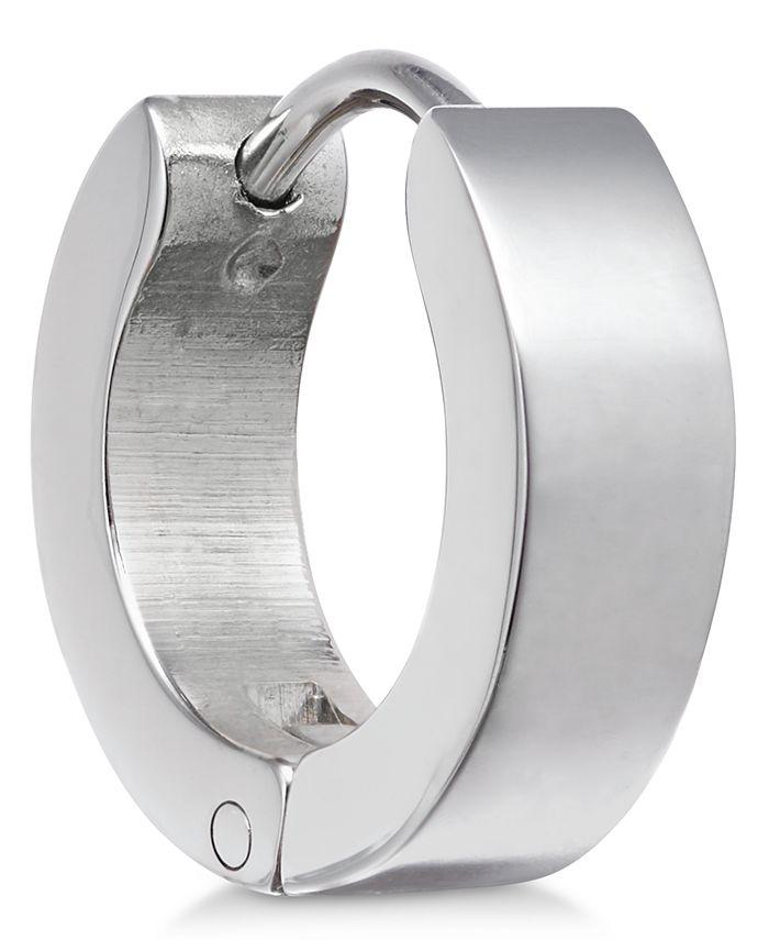 Sutton by Rhona Sutton - Men's Stainless Steel Hinged Huggie Hoop Earring