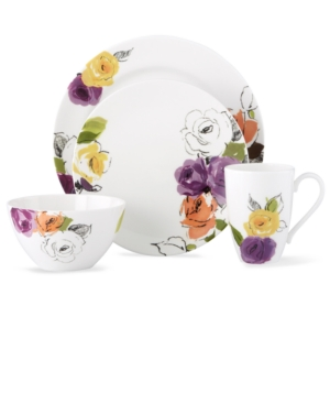 kate spade new york Dinnerware, Charcoal Floral 4 Piece Place Setting