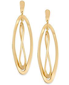 Twisted Oval Orbital Drop Earrings in 14k Gold