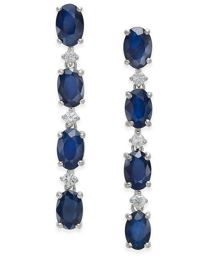 Macy's - Blue Sapphire (4-3/4 ct. t.w.) & White Sapphire (1/5 ct. t.w.) Drop Earrings in Sterling Silver