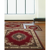 Deals on KM Home Florence Kerman Red 4-Pc. Rug Set
