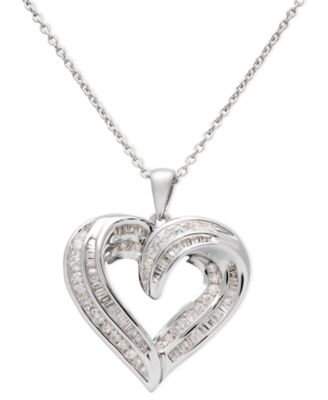 Wrapped in love diamond pendant sterling silver diamond heart diamond heart pendant necklace in sterling silver 12 ct tw mozeypictures Images